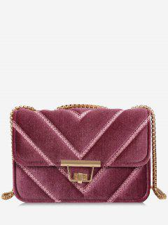 Stitching Quilted Chain Crossbody Bag - Pink