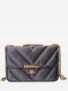 Stitching Quilted Chain Crossbody Bag - Gray
