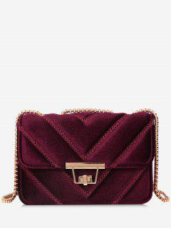 Stitching Quilted Chain Crossbody Bag - Wine Red
