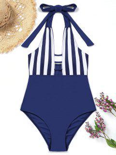 Halfter Gestreifter Einteiliger Badeanzug - Dunkel Blau S