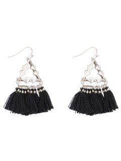 Vintage Triangle Tassel Hook Earrings - Black