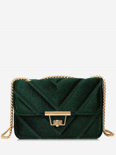 Stitching Quilted Chain Crossbody Bag - Green