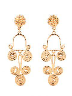 Antique Alloy Round Flower Earrings - Golden