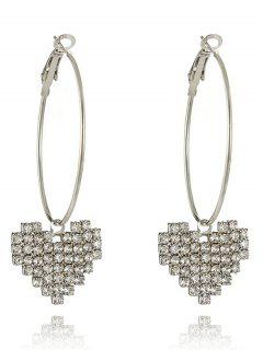 Sparkly Rhinestoned Heart Hoop Drop Earrings - Silver