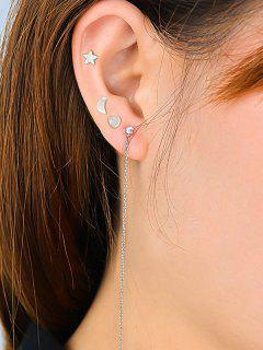 Rhinestone Chain Moon Star Heart Cartilage Earrings - Silver