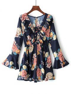 Floral Flare Sleeve Lace Up Romper - Purplish Blue L