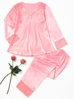 Lace Panel Satin Pajama Set - Pink Xl