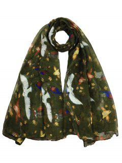Soft Birds Pattern Embellished Sheer Long Scarf - Army Green