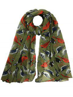 Flying Birds Pattern Decorated Sheer Long Scarf - Army Green