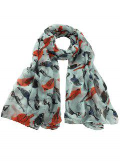 Flying Birds Pattern Decorated Sheer Long Scarf - Light Blue