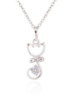 Kitty Faux Crystal Pendant Necklace - Silver