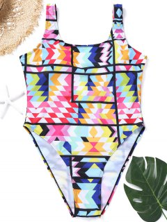 Plus Size Colorful High Cut Swimsuit - 3xl