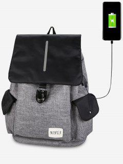 Striped Side Pockets USB Charging Port Backpack - Light Gray