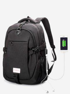 Headphone Jack USB Charging Port Backpack - Black
