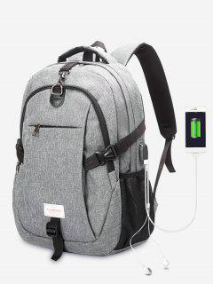 Headphone Jack USB Charging Port Backpack - Gray