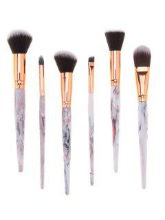 6Pcs Professional Tree Resin Printed Handle Cosmetic Brushes Set - Grey And White