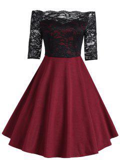 Vestido Con Aplicación De Encaje Vintage Off The Shoulder - Vino Rojo 2xl