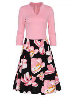 V-neck Floral Flare Vintage Dress - Pink M