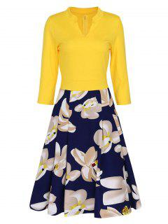 V-neck Floral Flare Vintage Dress - Yellow Xl