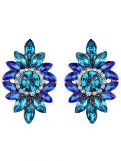 Sparkly Rhinestoned Tree Leaf Earrings - Blue