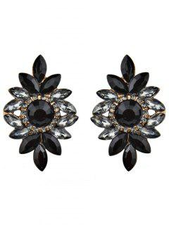 Sparkly Rhinestoned Tree Leaf Earrings - Black