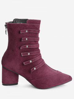Pointed Toe Lace Up Block Heel Boots - Wine Red 38