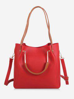 Faux Leather Multi Function Shoulder Bag - Red