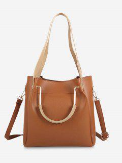 Faux Leather Multi Function Shoulder Bag - Light Brown