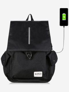 Striped Side Pockets USB Charging Port Backpack - Black