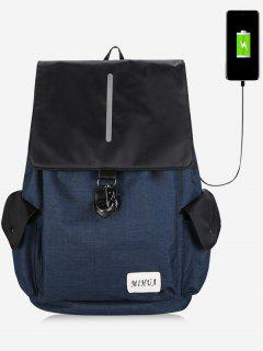 Striped Side Pockets USB Charging Port Backpack - Blue