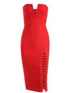 Back Slit Cut Out Strapless Bandage Dress - Red M