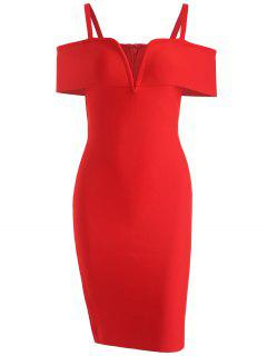 Cold Shoulder Bandage Cami Dress - Red M