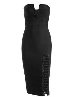 Back Slit Cut Out Strapless Bandage Dress - Black S