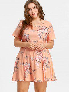 Blumiges Plus Size Swing Kleid - Orange Pink  5xl
