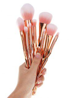10 Pcs Diamond Shaped Handle Makeup Brushes Set - Rose Gold