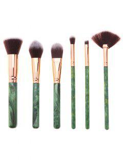 6pcs Conjunto De Pinceles De Maquillaje De Mango De Impresión De Resina Del árbol - Esmeralda