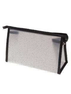 Grid EVA Cosmetic Waterproof Makeup Bag - Black