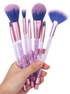 7Pcs Ombre Hair Paillettes Handle Makeup Brushes Set - Purple