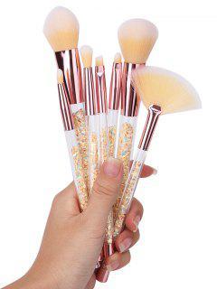7pcs Ombre Hair Paillettes Handle Pinceles De Maquillaje Set - Amarillo