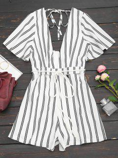 Plunging Neck Hollow Out Striped Belted Romper - White M