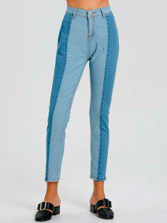 Color Block Skinny Striped Jeans - Blue M