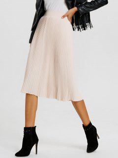 Knit Pleated Skirt - Light Apricot Pink