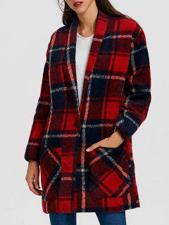 Plaid Shawl Collar Back Slit Coat - Red Xl