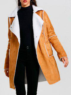 Manteau Long à Col Tailleur En Faux Suède - Kaki Xl