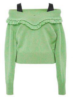 Cold Shoulder Tassels Sweater - Apple Green L