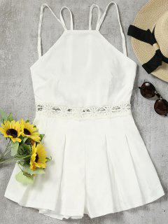 Lace Panel Backless Cami Romper - White L