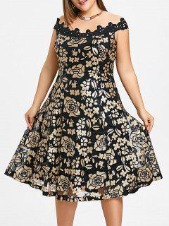 Plus Size Schulterfrei Floral Pailletten Kleid - Golden 5xl