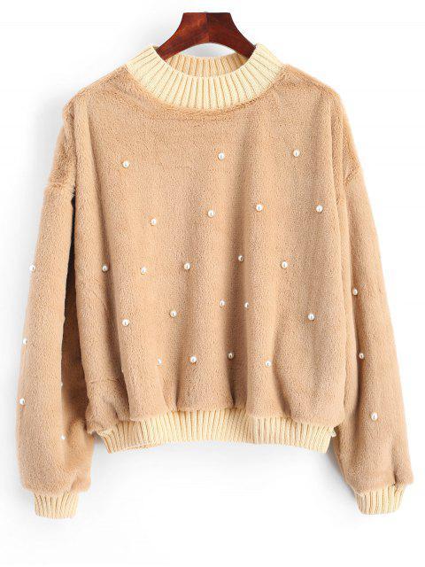 Perlen Shearling Sweatshirt - Khaki S Mobile