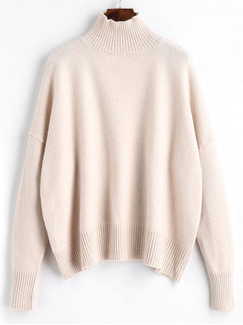 Pullover Mit Geripptem Panel Und Hohem Kragen - Aprikose Eine Größe Mobile