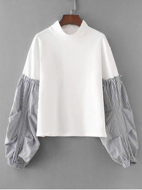 Lantern Ärmel Streifen Panel Sweatshirt - Weiß L Mobile